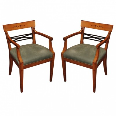 Pair of Italian Beidermier Armchairs