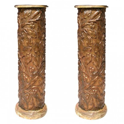 Pair of 17th c. Gilt Columns
