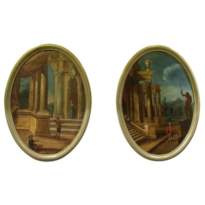 PAIR ITALIAN OIL ON CANVAS OVAL LANDSCAPES