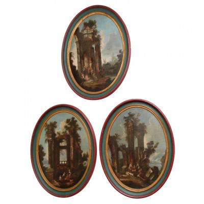 SET OF THREE ITALIAN OVAL OIL ON CANVAS