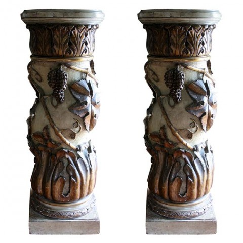 Pair of Italian Paint and Parcel Gilt Columns