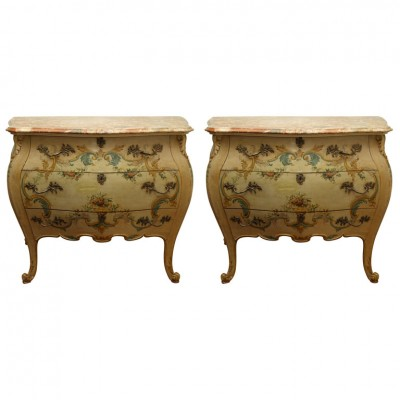 EXCEPTIONAL PAIR OF PAINTED BOMBE COMMODES