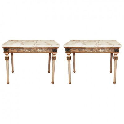 Pair Of Marble Inlaid Italian Console Tables