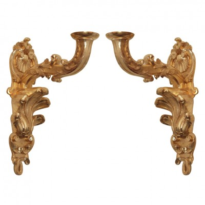 Pair Of Louis Xv Gilt Wood Appliques