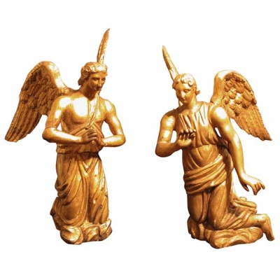 Pair of Carved Gilt Wood Angels