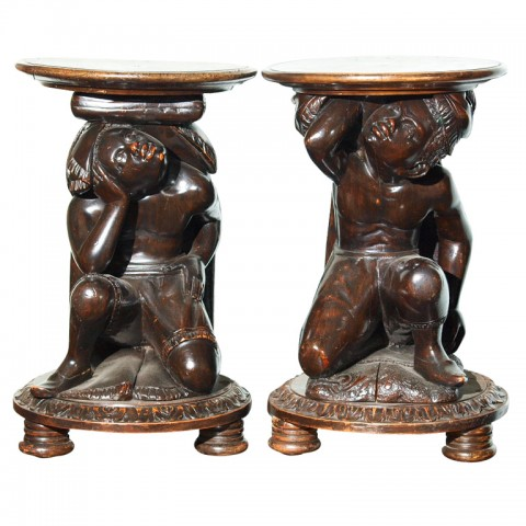 PAIR ITALIAN WALNUT BLACKAMOORE STANDS