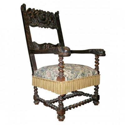 17th c Italian Walnut Armchair