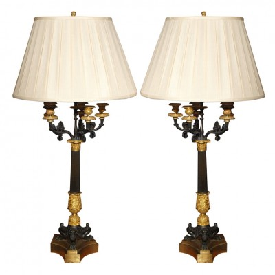 PAIR OF 19TH C CHARLES X GILT AND BRONZE CANDELSTICKS AS LAMPS