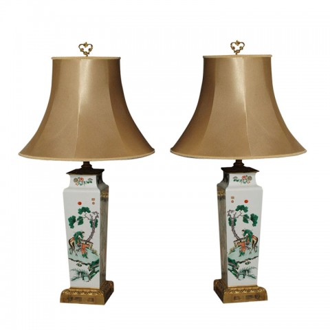 EXCEPTIONAL PAIR OF FAMILLE VERT VASE MOUNTED AND AS LAMPS