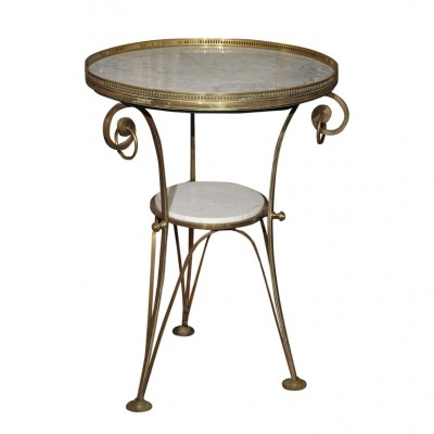 FRENCH BRASS AND MARBLE GUERIDON