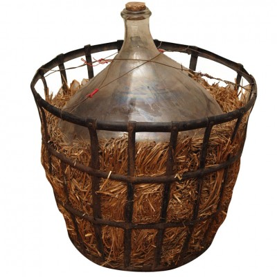 FRENCH WINE JUG WITH IRON STORAGE CAGE