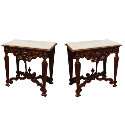 Pair 19th Century Walnut Console Tables