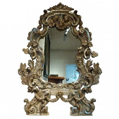 Monumental Italian Gilt Wood Mirror With Cherubs