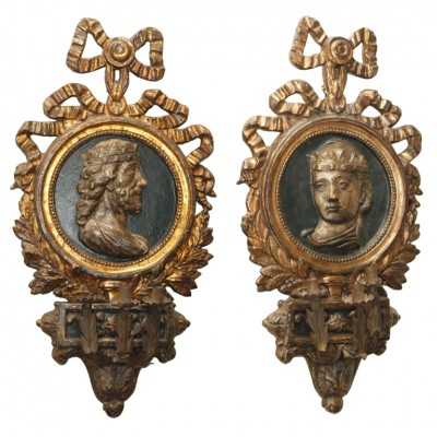 18th C Italian Giltwood Wall Sconces