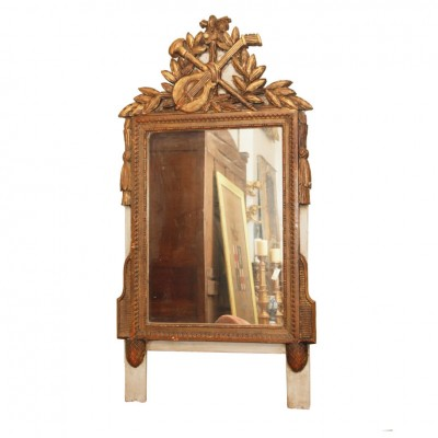 French Louis XVI Gilt And Gray Painted Mirror