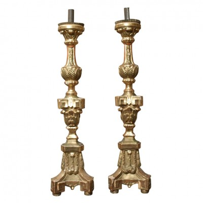 PAIR OF ITALIAN LOUIS XVI LARGE GILTWOOD ALTAR STICKS