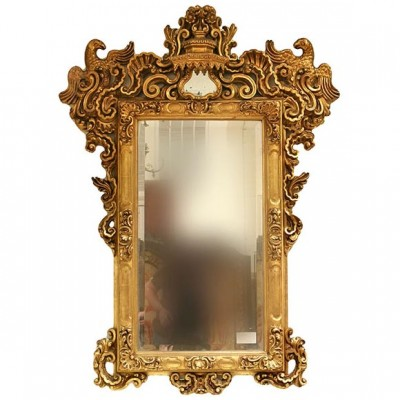 French 19th c Giltwood Mirror With Parrots
