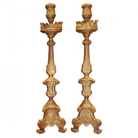Large Pair of 19th c. Gilt Altarsticks