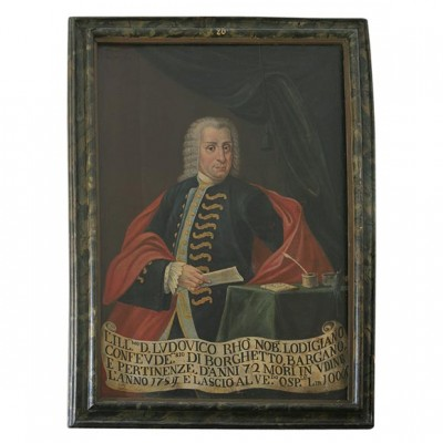 18th c Oil On Canvas Portrait of Italian Nobleman