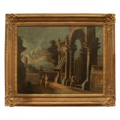 Italian Oil On Canvas Of Ruins