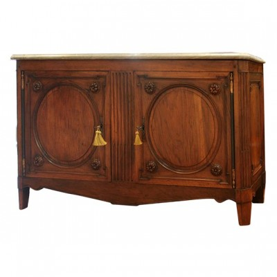PERIOD LOUIS XVI WALNUT MARBLE TOP LYONAISE BUFFET