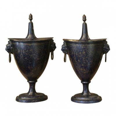 French Tole Chestnut Urns