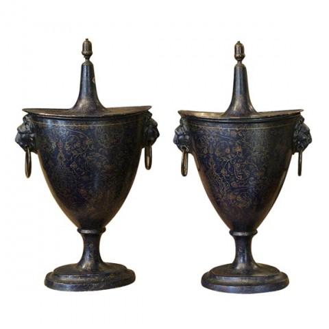 French Tole Chestnut Urns
