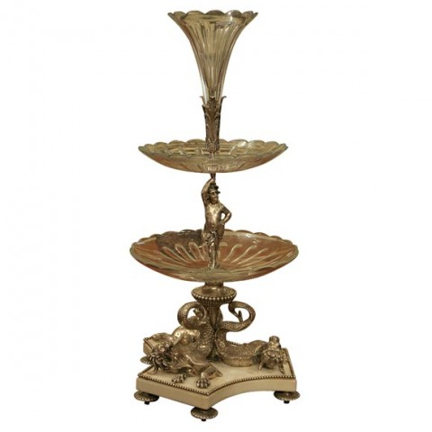 Magnificent Silverplated Bronze, Crystal And Marble Epergne