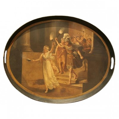Tole Tray With Original Oil Painting