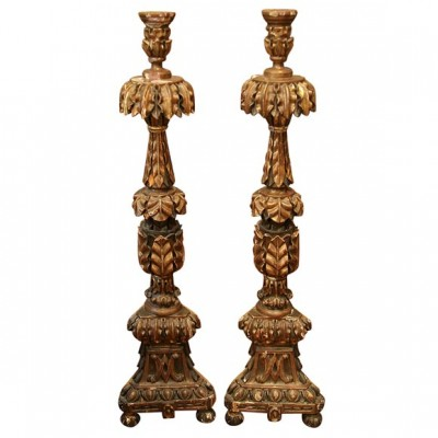 Monumental Pair of Italian Gilt Wood Altarsticks