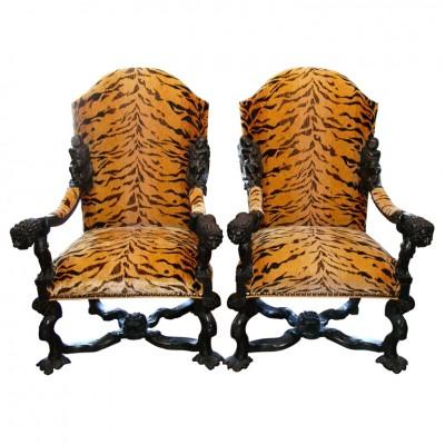 Monumental Pair Of Italian Ebonized Armchairs
