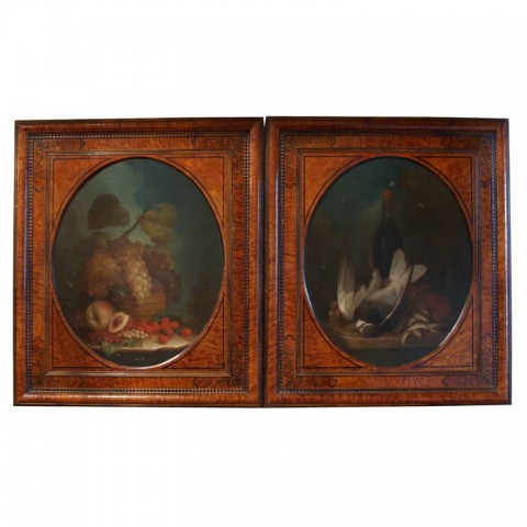 Pair of Charles X French Nature Morte Oil on Canvas
