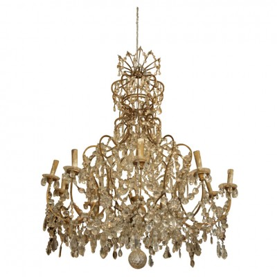 18th Century Gilt Iron and Crystal Chandelier
