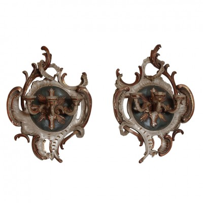 PAIR GERMAN BAROQUE PAINTED WALL SCONCES