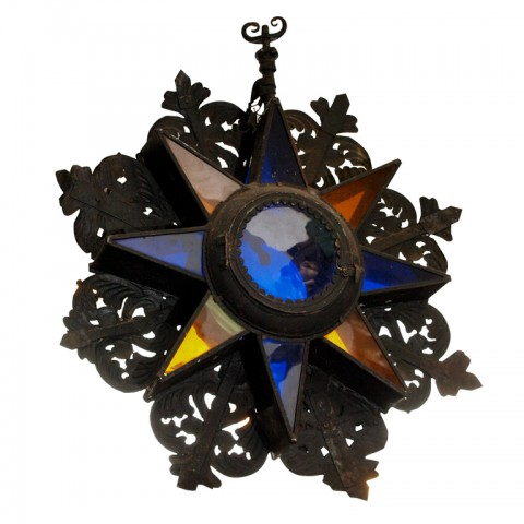 17th CENTURY IRON AND GLASS STAR LIGHT