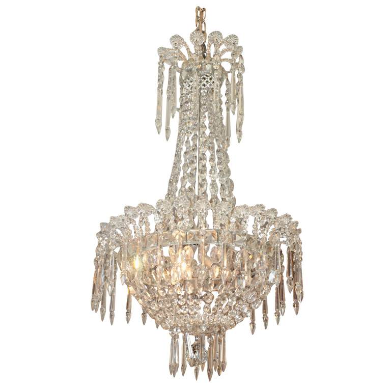 French Empire Crystal Chandelier : Kevin Stone Antiques & Interiors