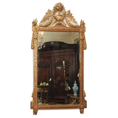Louis XVI Parcel Gilt And Piant Mirror With Urn Cartouche
