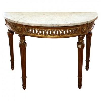 LOUIS XVI GILTWOOD DEMI LUNE CONSOLE TABLE