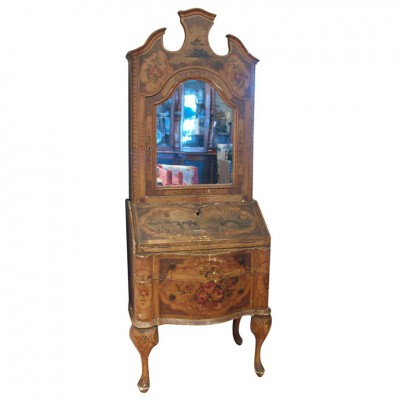 VENETIAN PAINTED SECRETARY BOOKCASE