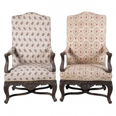 Pair of Exceptional Louis XV Style Carved Walnut Armchairs