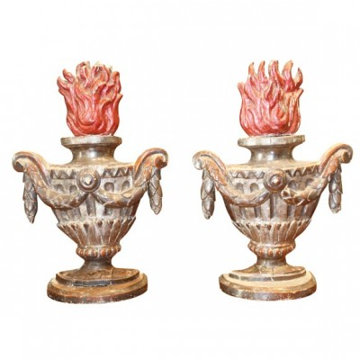 Pair Italian Gilt wood And Polychrome Flaming Urns