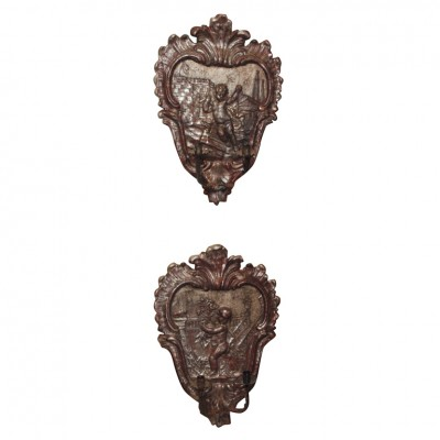 Pair Of 18th C. Silver Gilt Wall Applique