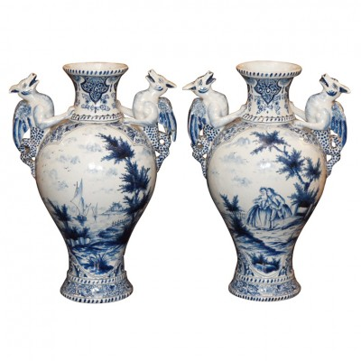 Pair Of Early 19th C. Delft Vase