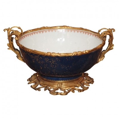 18th C. CHINESE EXPORT MANDRIAN BLEU MOUNTED BOWL