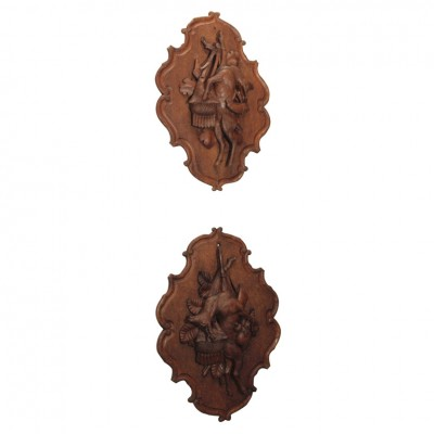 Pair Of Black Forest Wall Plaques