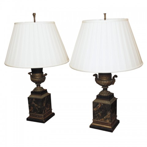 PAIR OF CAMPANIA FORM URNS AS LAMPS