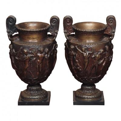 Pair Of Grand Tour Bronze Vases