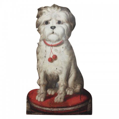 French Tole Painted Dog Umbrella Stand