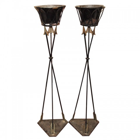 PAIR OF DIRECTIORE IRON STANDING PLANTERS