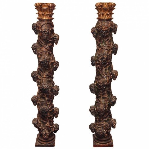 "Pair of 18th c. ""Salome"" columns polychromed and gilt"
